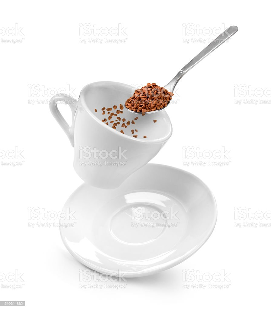 Preparation of instant coffee on a white stock photo