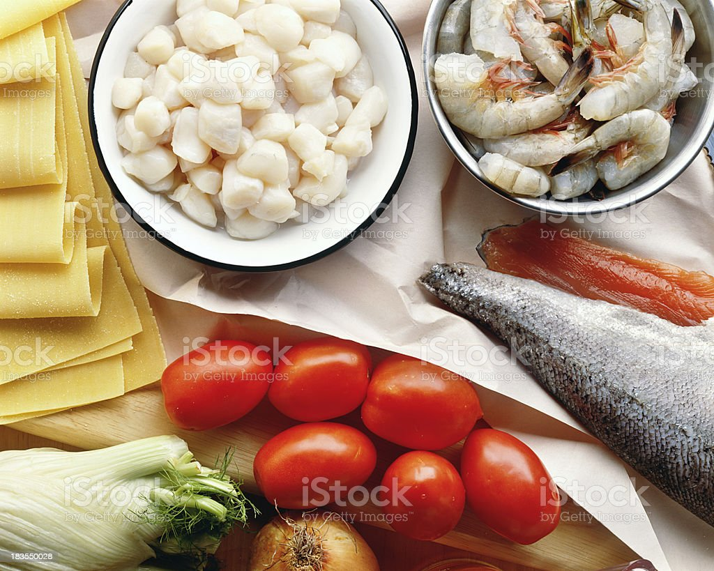 Preparation of seafood royalty-free stock photo