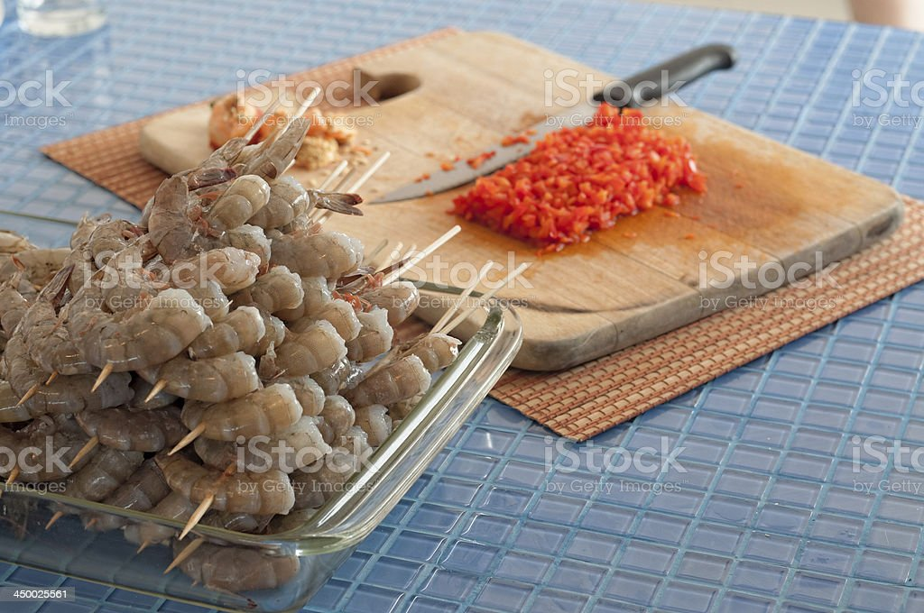 Preparation of shrimps at home royalty-free stock photo