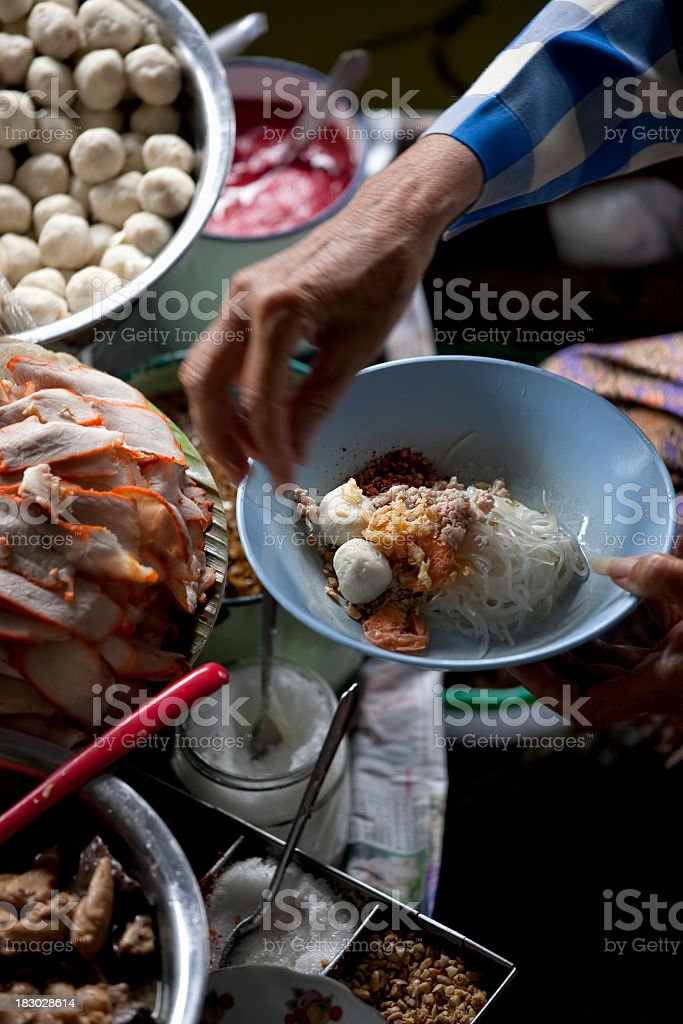 Preparation of Thai noodle soup. royalty-free stock photo