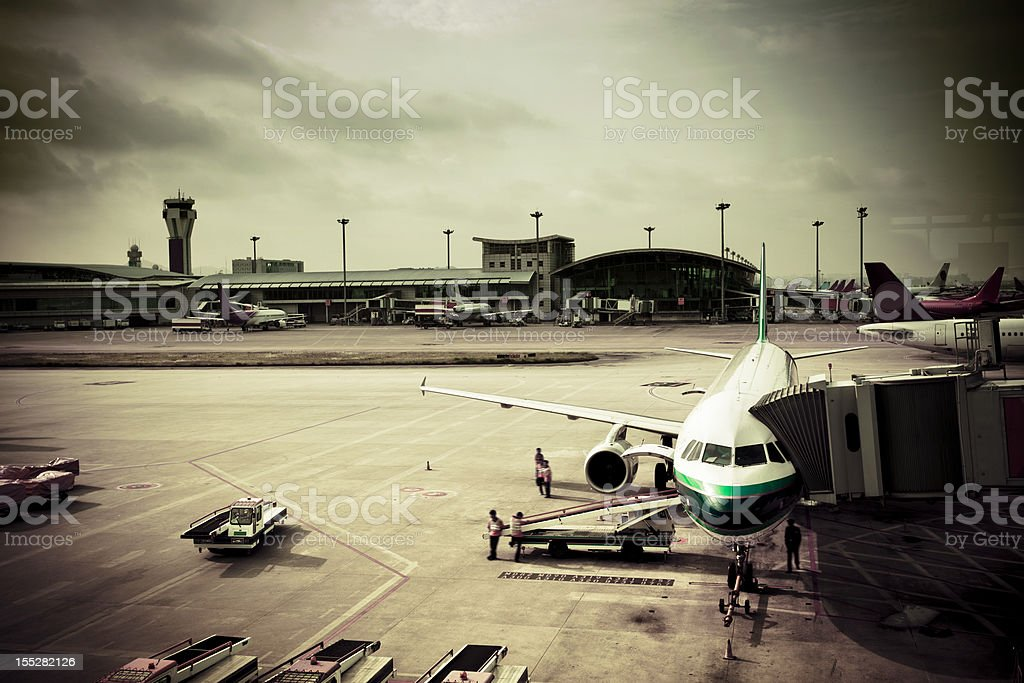 Preparation of the airplane before departure royalty-free stock photo