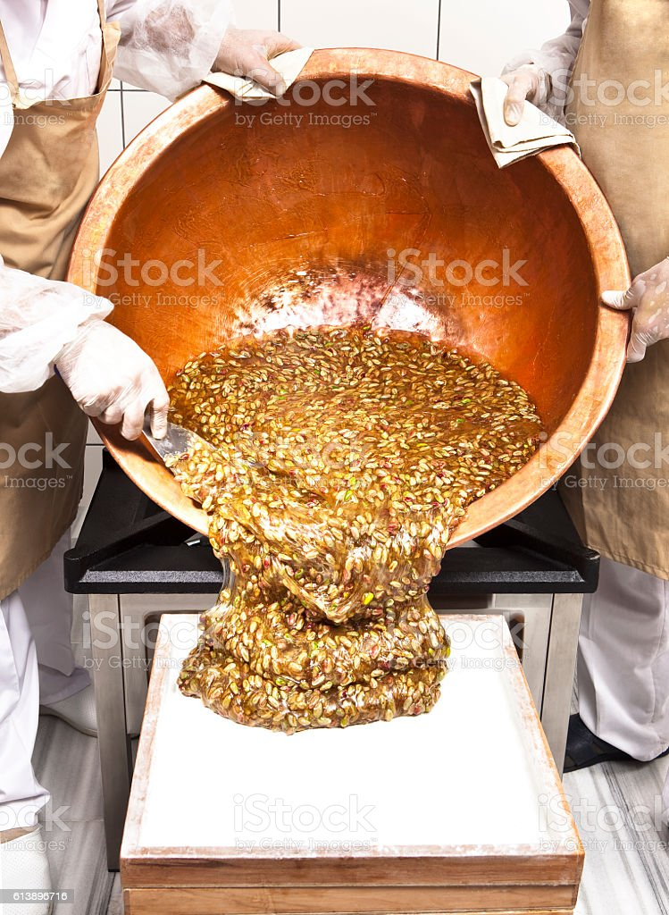 Preparation of Turkish Delight stock photo