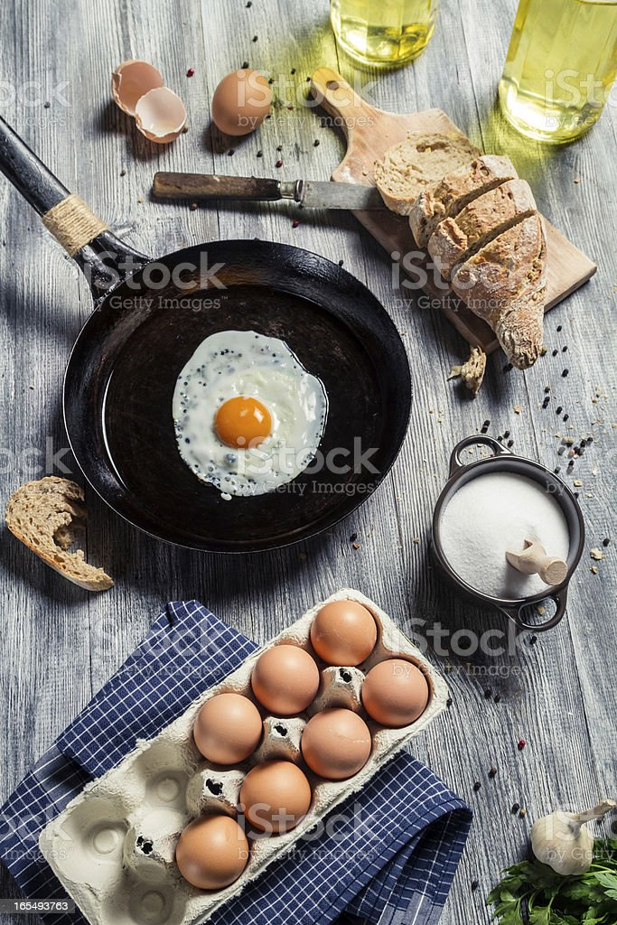 Preparations for breakfast made up of eggs royalty-free stock photo