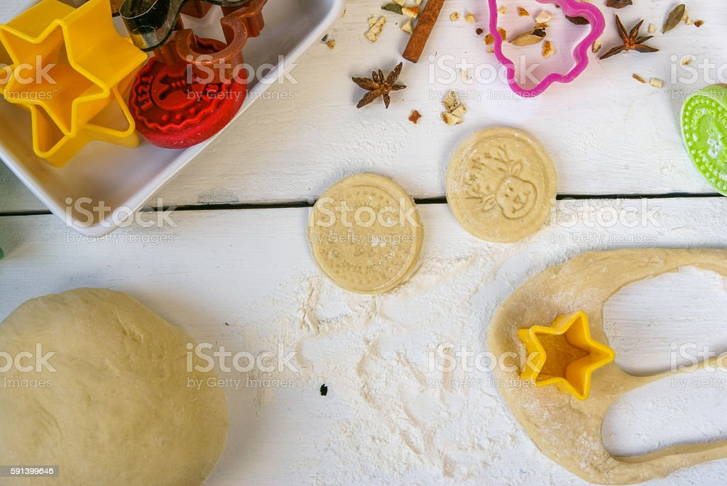 Preparations for Christmas and New Year. Baking Christmas cookies. stock photo