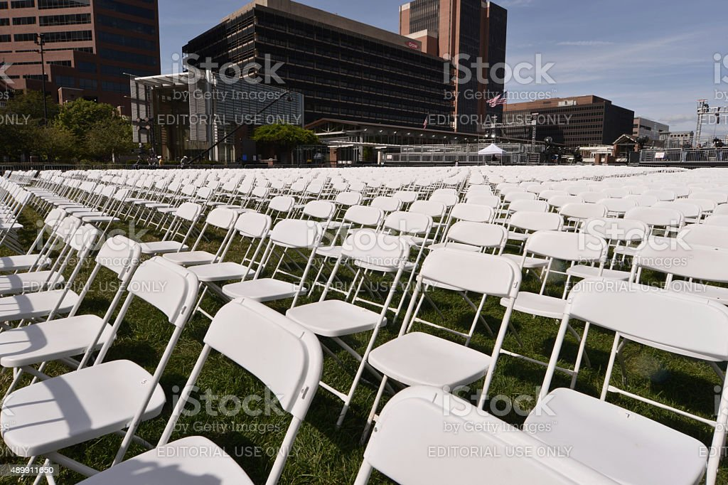 Preparations for Papal Visit, Philadelphia, PA stock photo