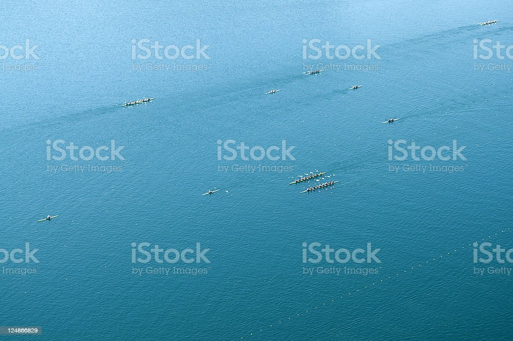 Preparations for Rowing Championship in Bled royalty-free stock photo