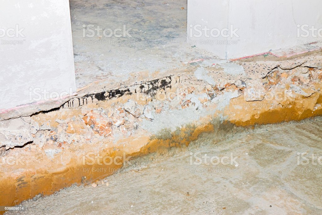 Preparatory stage for the construction of a ventilated crawl space stock photo