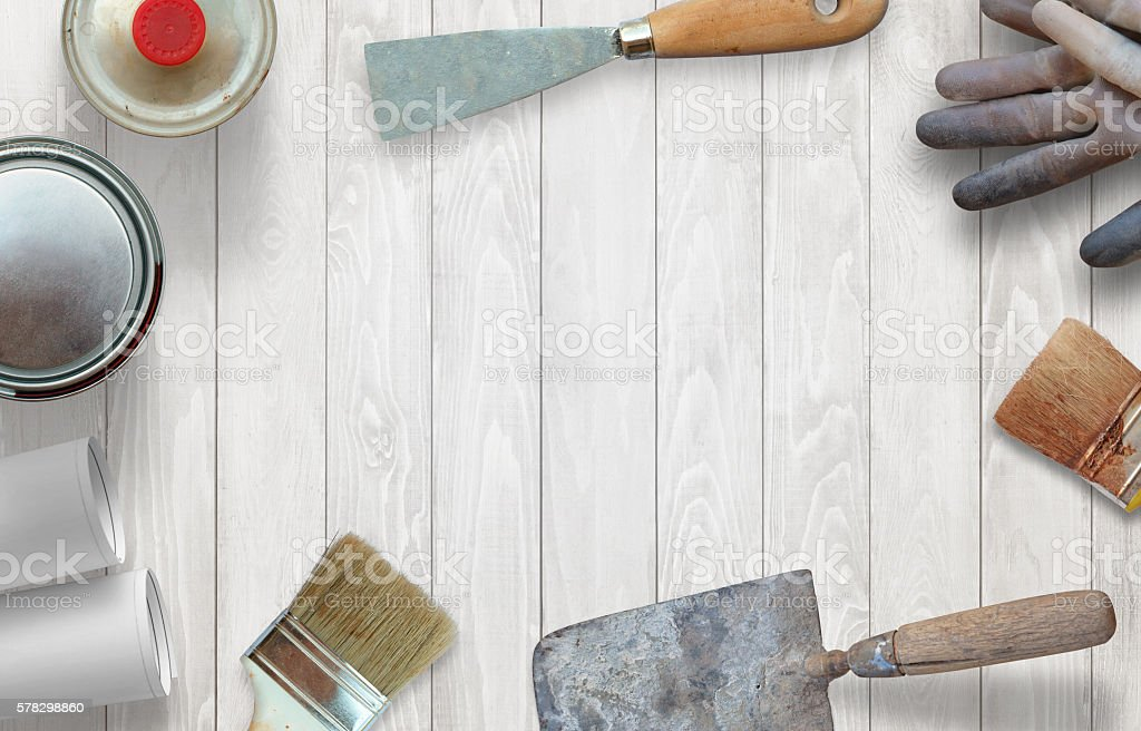 Prepare for spring cleaning and repair. stock photo