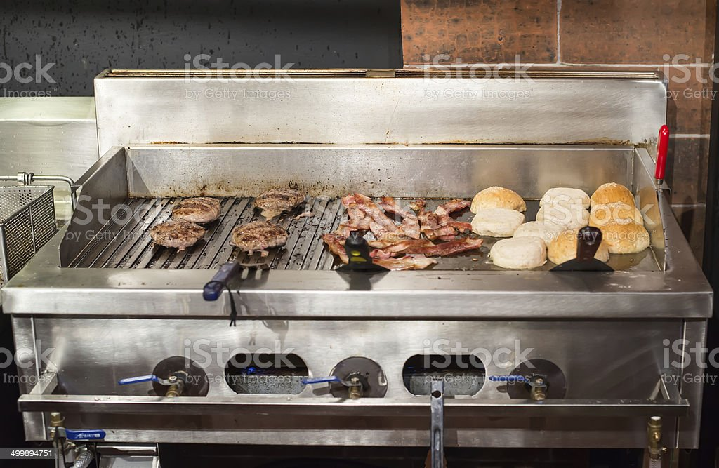 prepare hamburger stock photo