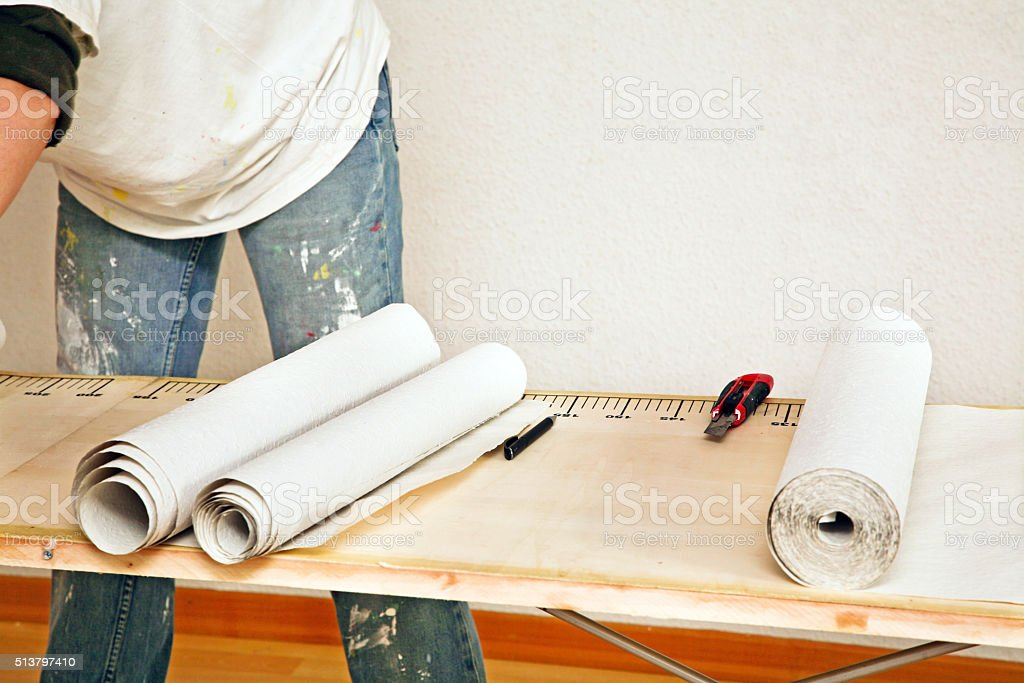 prepare to hanging wallpaper stock photo