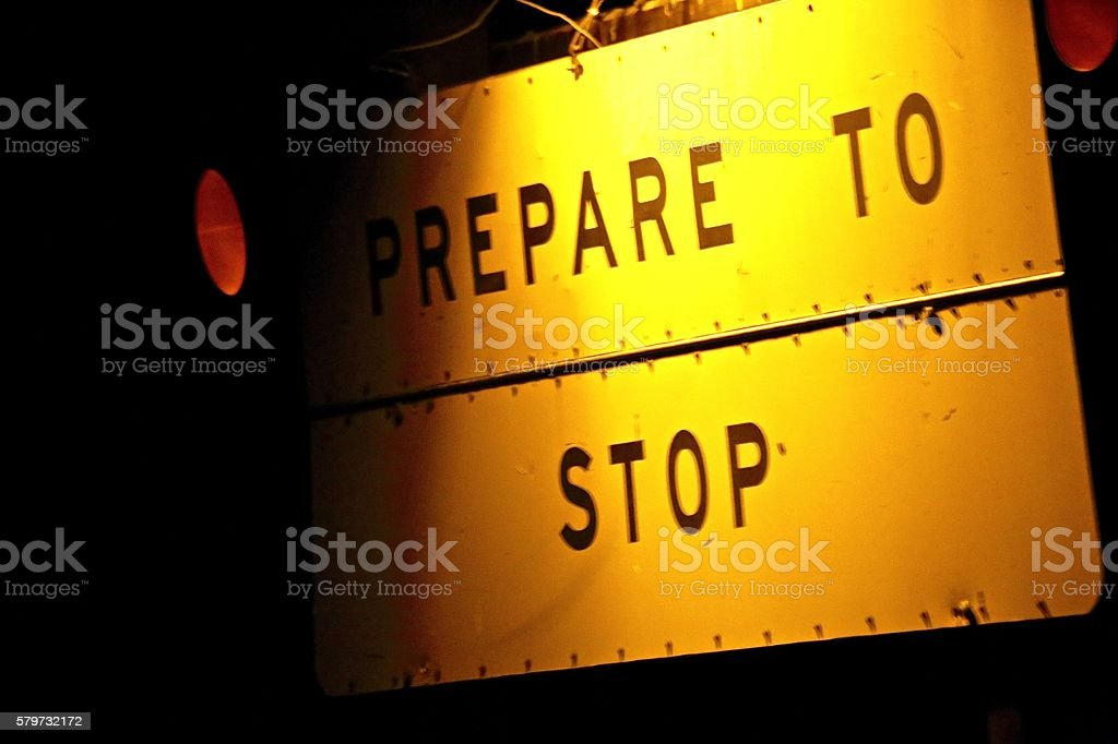 Prepare to Stop stock photo