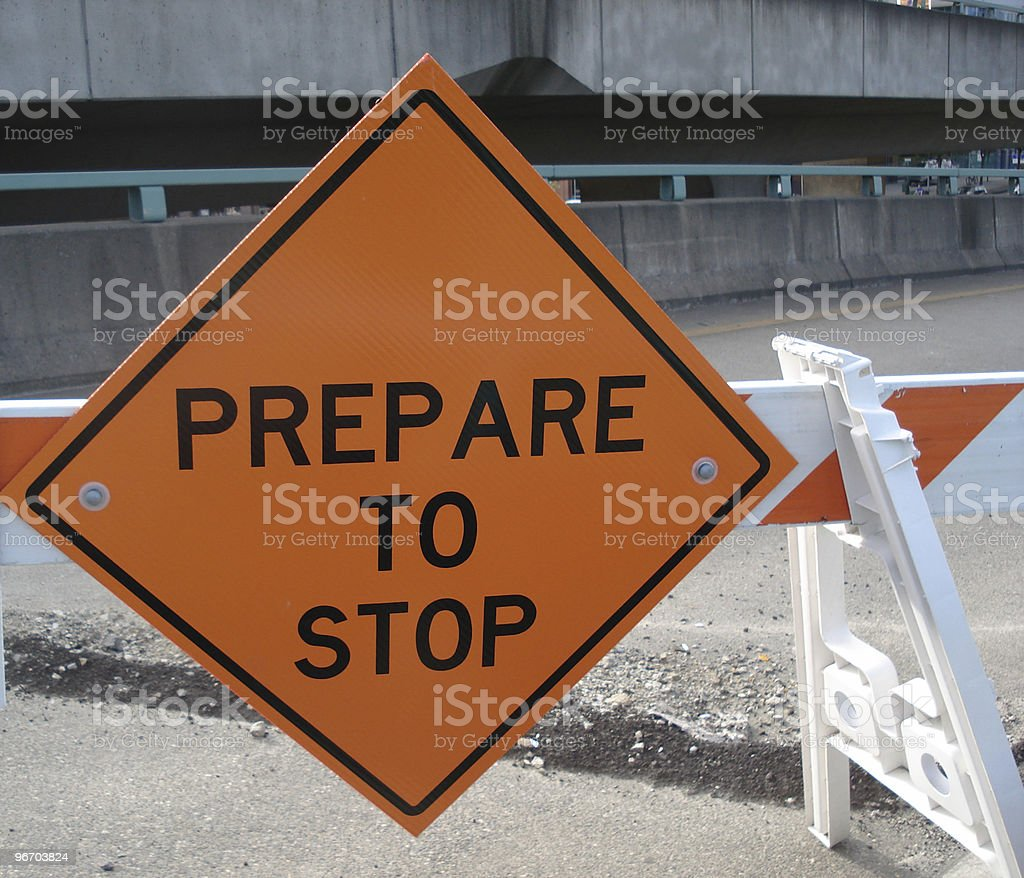 Prepare to Stop Road Sign royalty-free stock photo