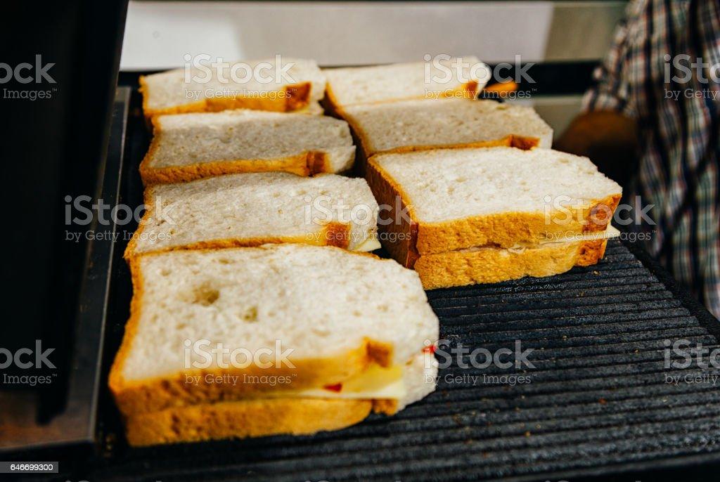 Prepare Turkish Toast for Breakfast stock photo