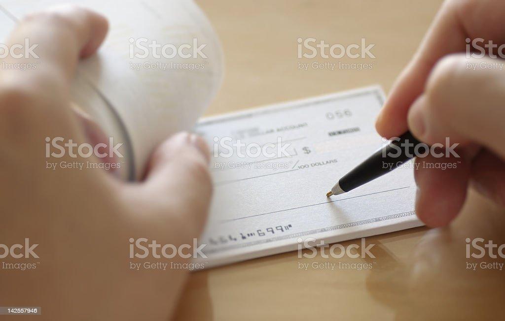 Prepare writing check stock photo