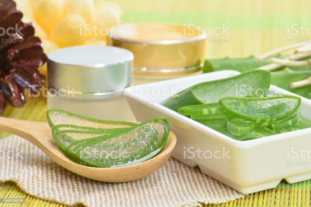 Prepared aloe vera use in spa for skincare and cosmetic stock photo