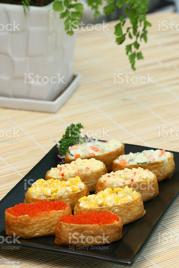 prepared and delicious sushi royalty-free stock photo