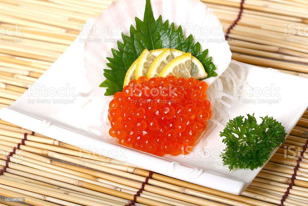 prepared and delicious sushi -qgob with green leaves royalty-free stock photo