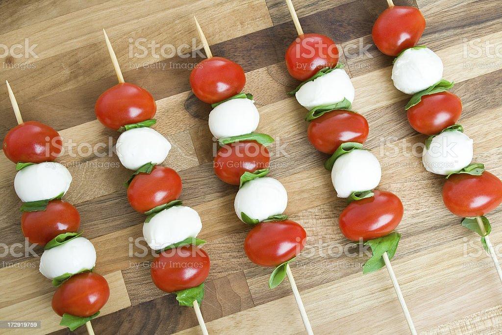 Prepared caprese salad skewers royalty-free stock photo
