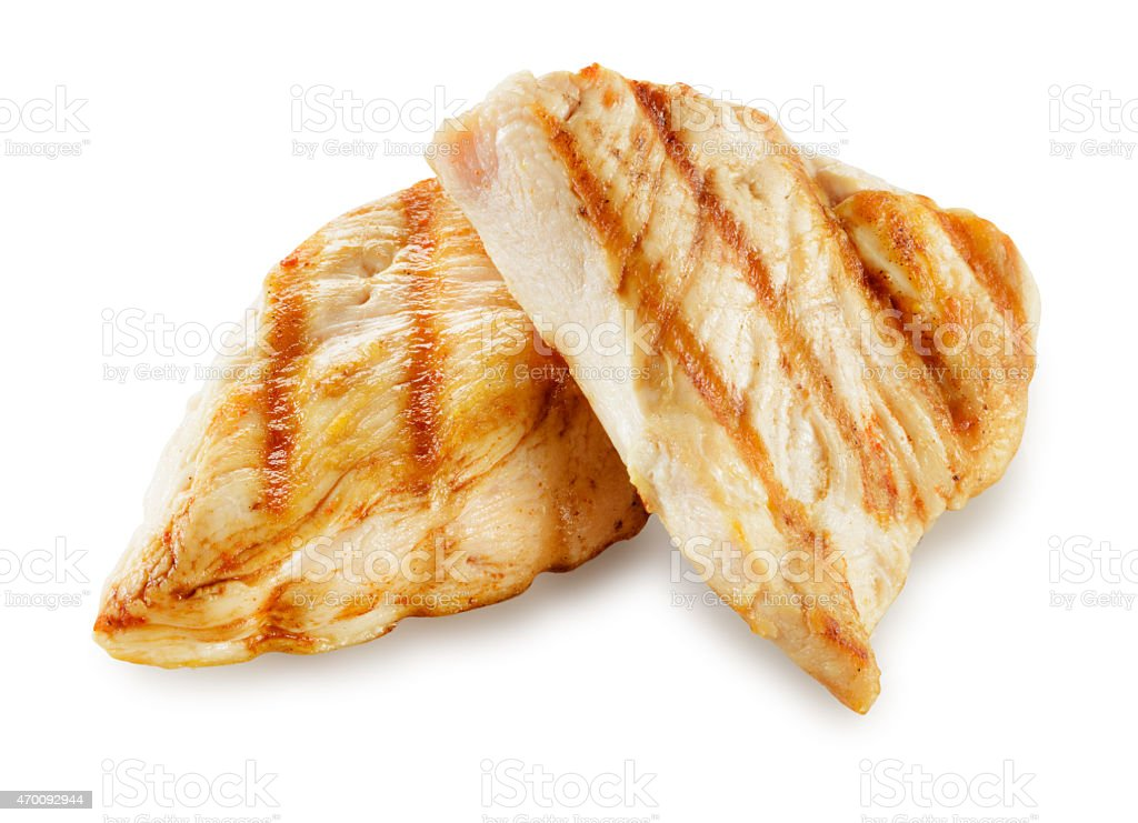 Prepared chicken meat. Breast fillet slices isolated. With clipping path. stock photo