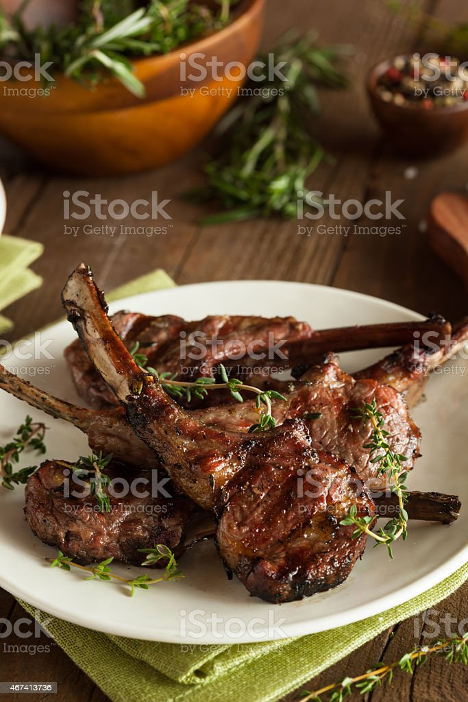 Prepared Dinner of grilled lamp chops stock photo
