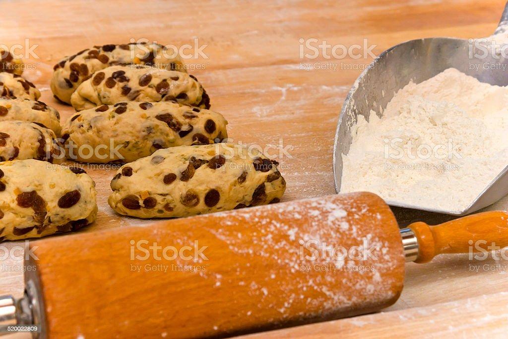 Prepared Dough for Stollen stock photo