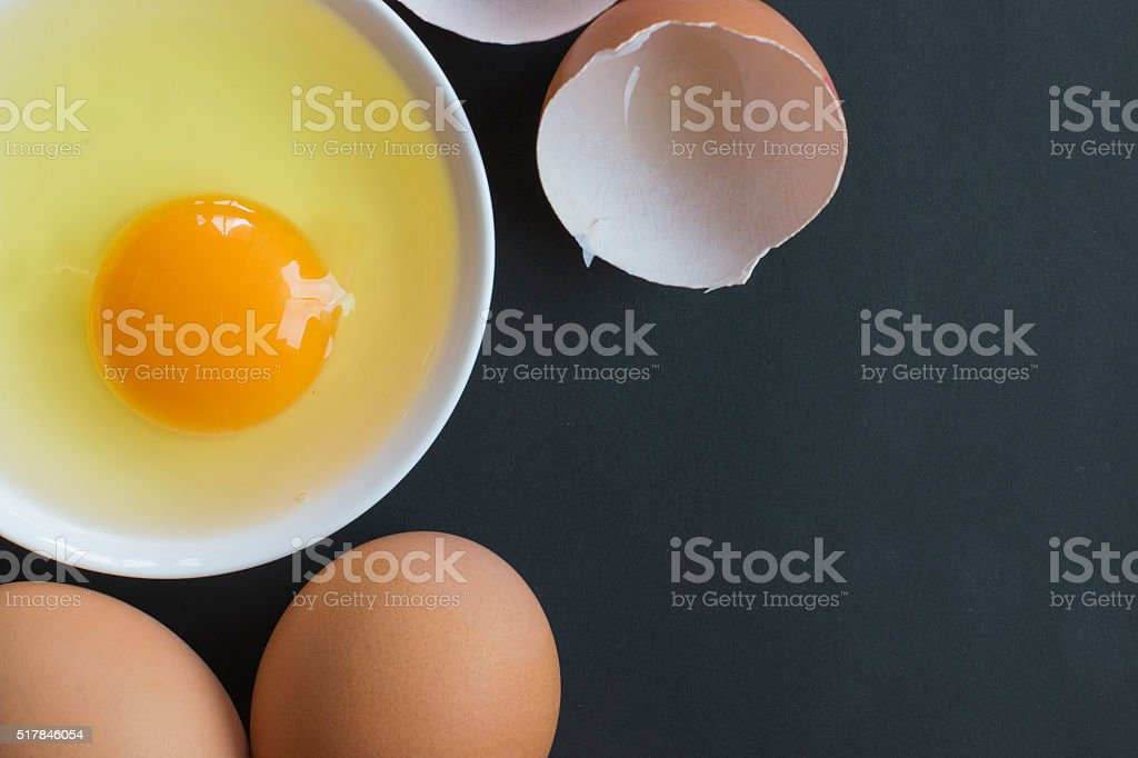 Prepared egg in white bowl stock photo