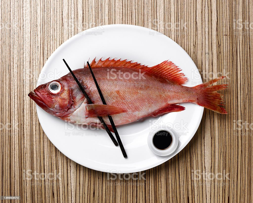 Prepared fish placed on a white plate royalty-free stock photo