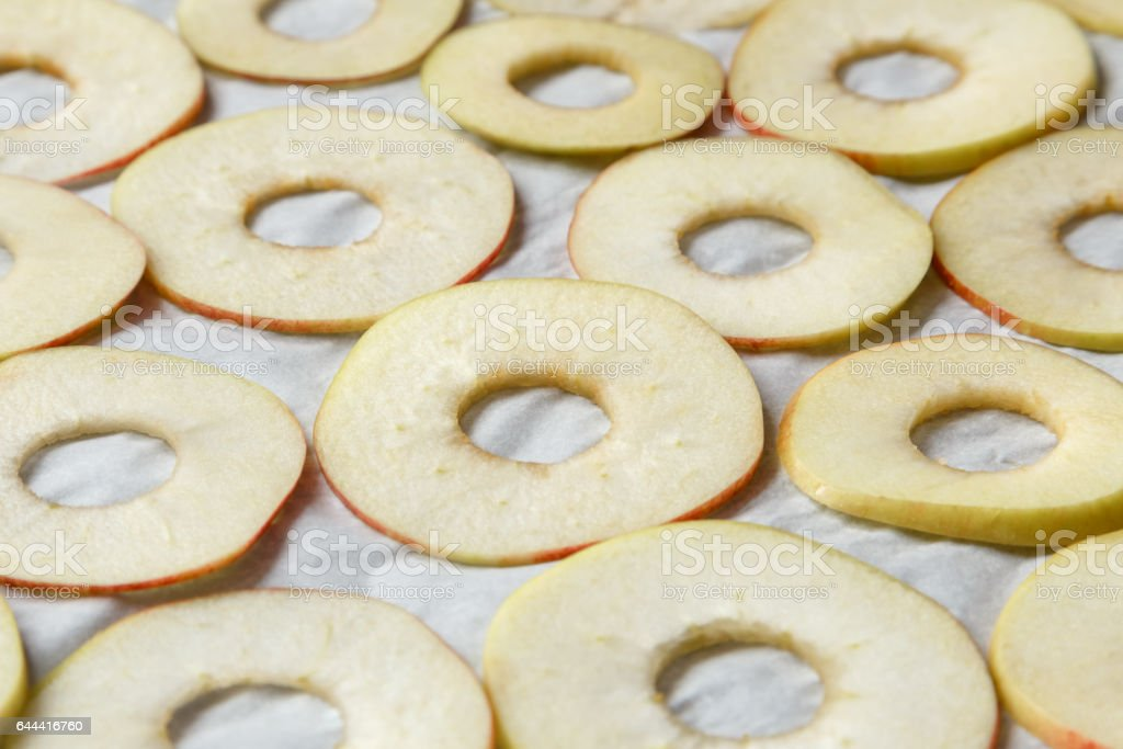 prepared for drying apples lying on baking paper stock photo