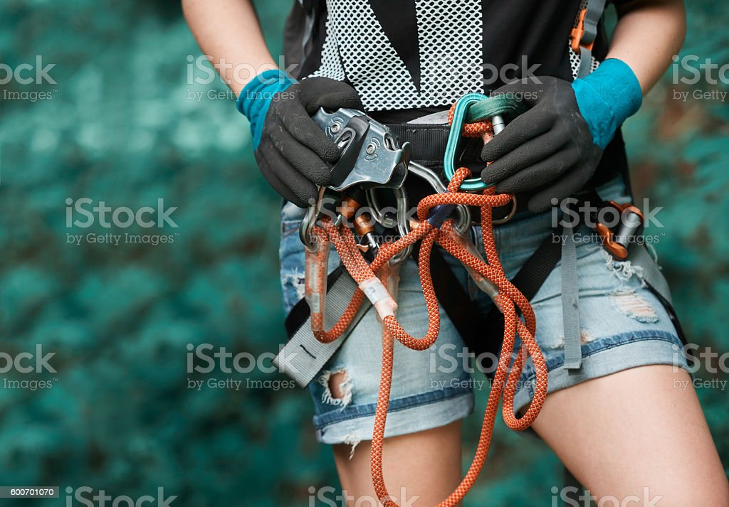 prepared for zip lining experience stock photo