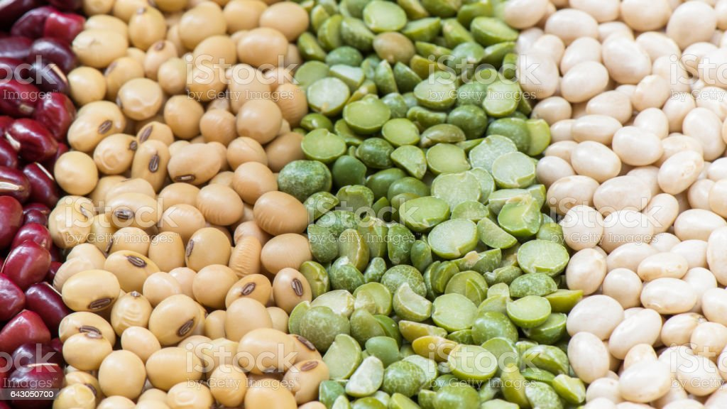 Prepared multicolor dired legumes for cooking stock photo