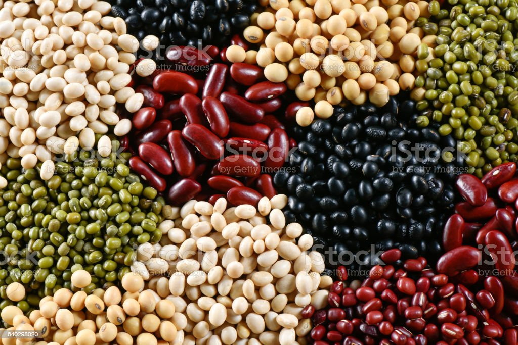 Prepared muticolor dry legumes for cooking, Many legumes for background stock photo