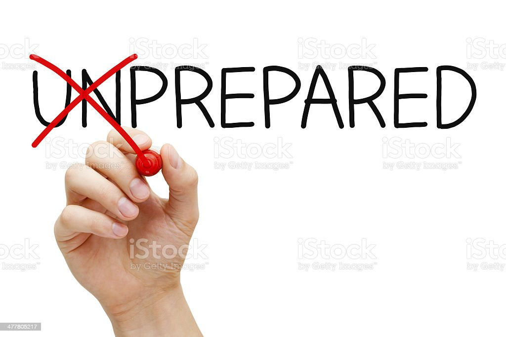 Prepared Not Unprepared stock photo