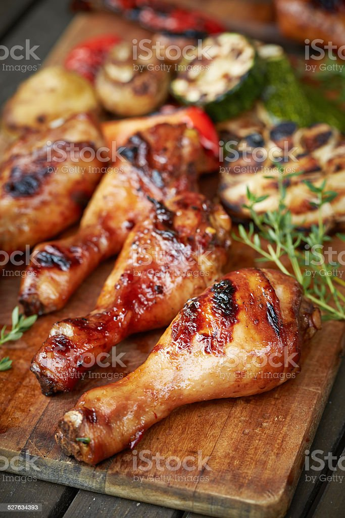 prepared on grill chicken legs stock photo