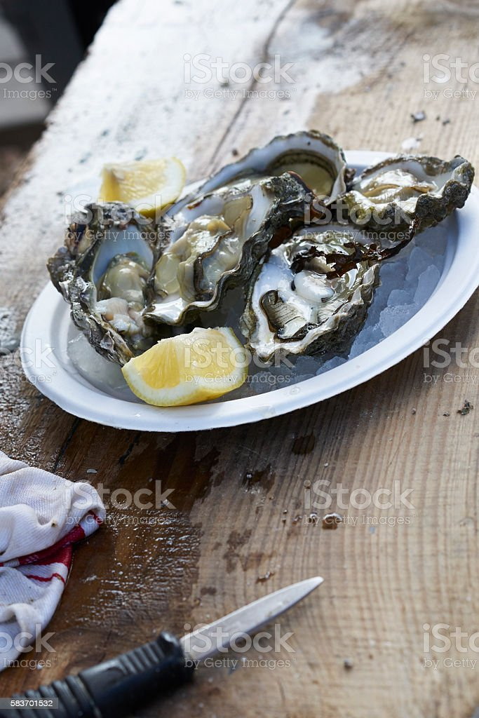 Prepared oysters stock photo