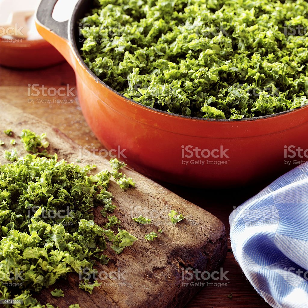 prepared pan with kale royalty-free stock photo