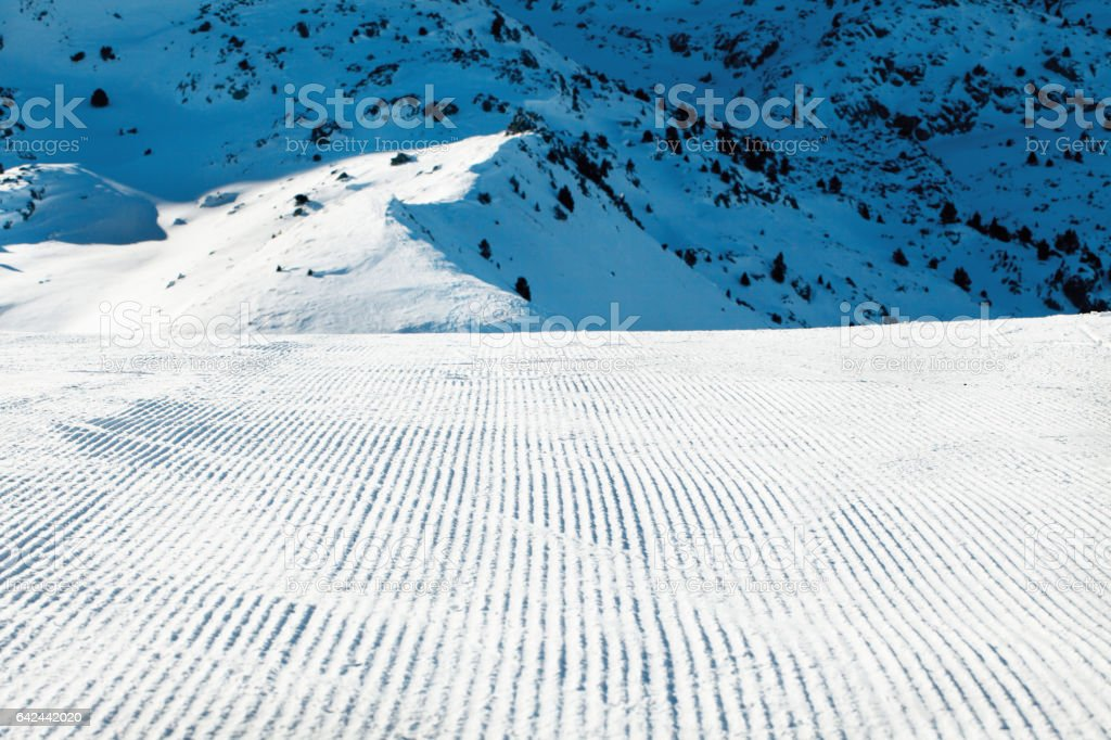 Prepared piste on ski resort stock photo