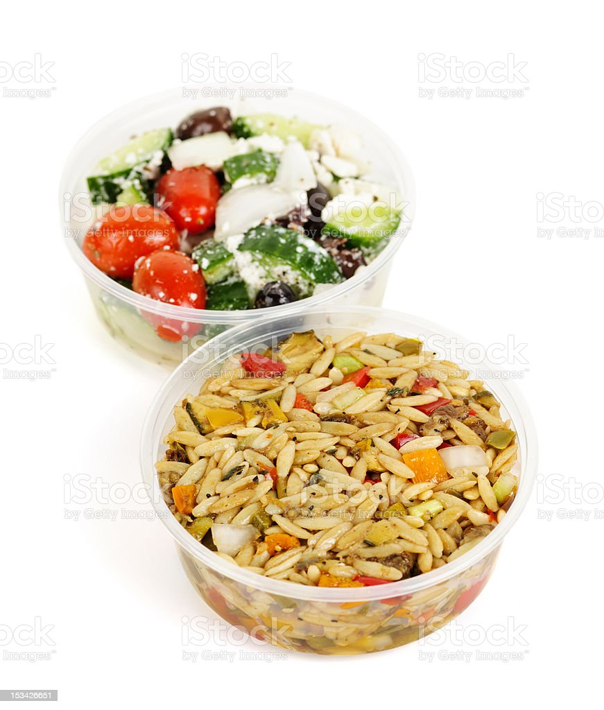 Prepared salads in takeout containers royalty-free stock photo