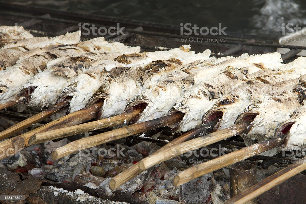 Prepared salted grill royalty-free stock photo
