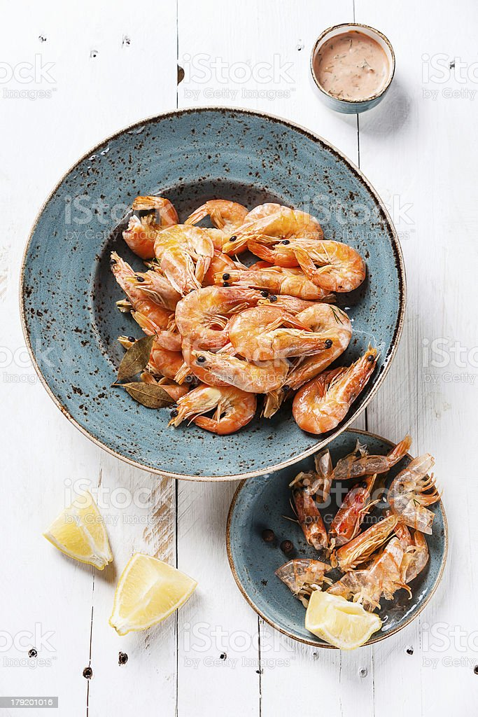 Prepared shrimps royalty-free stock photo