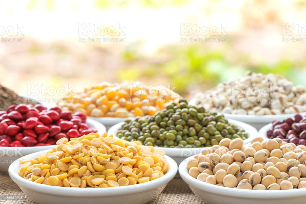 Prepared soybean and multi colour bean for cooking stock photo