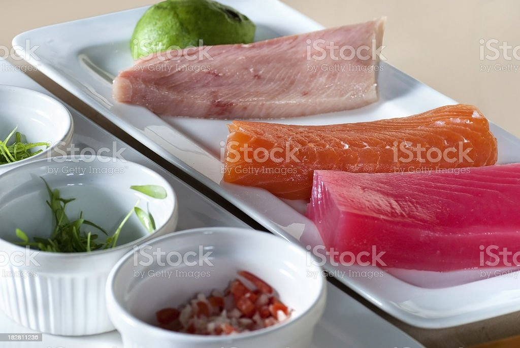 Prepared table with ingredients for making sushi royalty-free stock photo