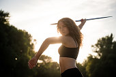 Prepared to go - woman with javelin