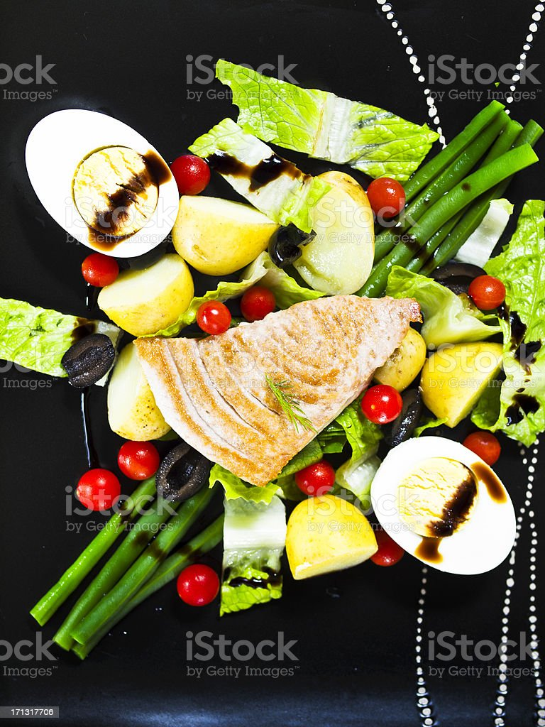 Prepared tuna with Nicoise salad royalty-free stock photo