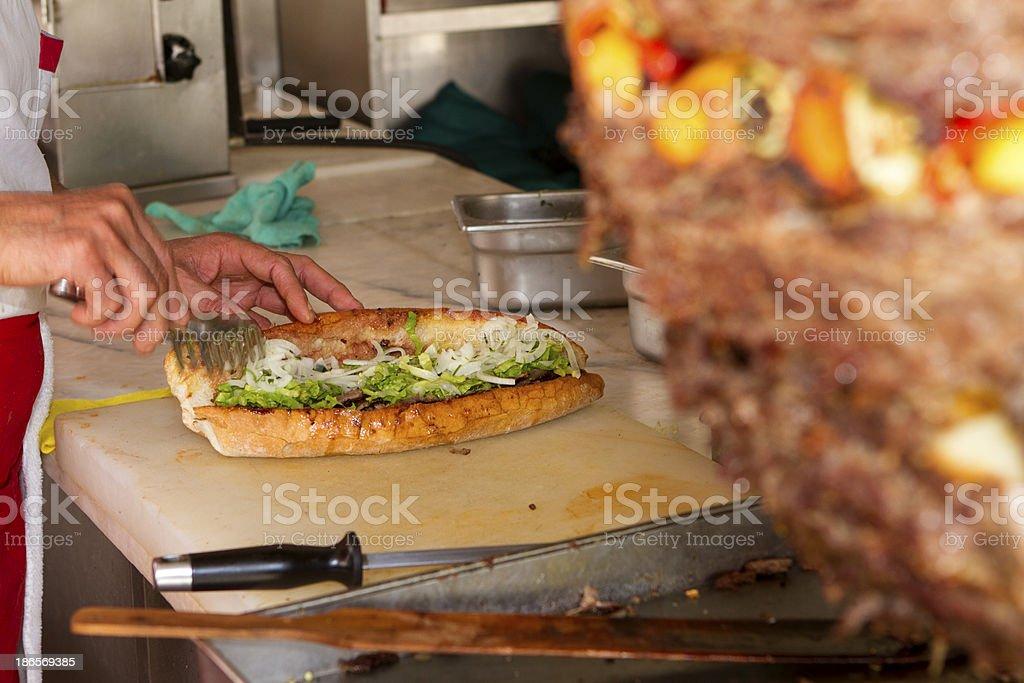 Preparing a Doner Kebab royalty-free stock photo