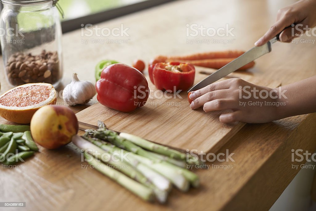 Preparing a fresh treat stock photo