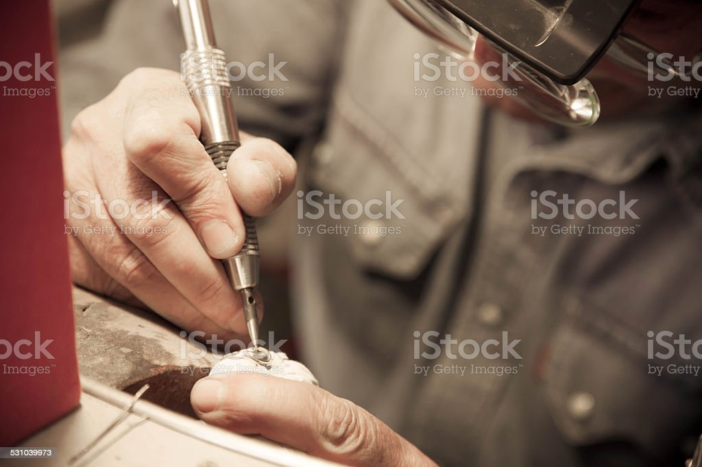 Preparing a new ring stock photo