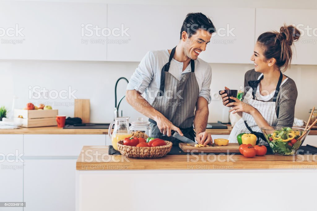 Preparing a romantic dinner stock photo