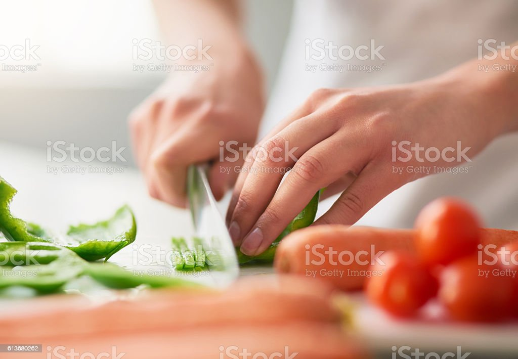 Preparing a wholesome meal filled with organic goodness stock photo