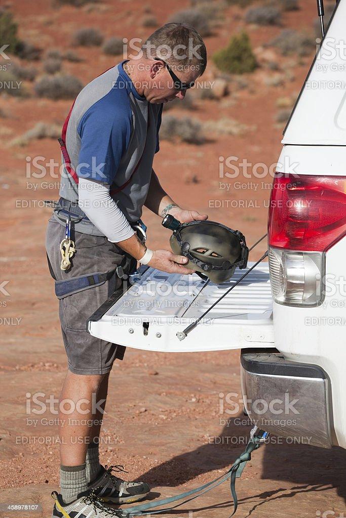 preparing adventure equipment stock photo