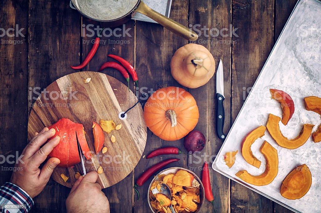 Preparing and Baking Fresh Pumpkins stock photo